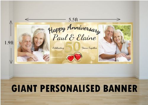 Personalised GIANT Large 50th Golden Wedding Anniversary PHOTO Poster Banner N29